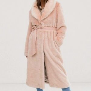 ASOS Plush Faux Fur Maxi Coat with Belt - 10
